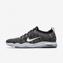 Womens Black/Cool Grey/White Nike Air Zoom Fearless Flyknit Lux Training Shoes 995GVYUH