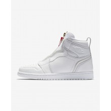 Womens White/University Red Air Jordan 1 High Zip Lifestyle Shoes 999SOBMX